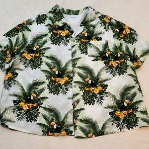 KS Island Hawaiian shirt button down collar top 3X